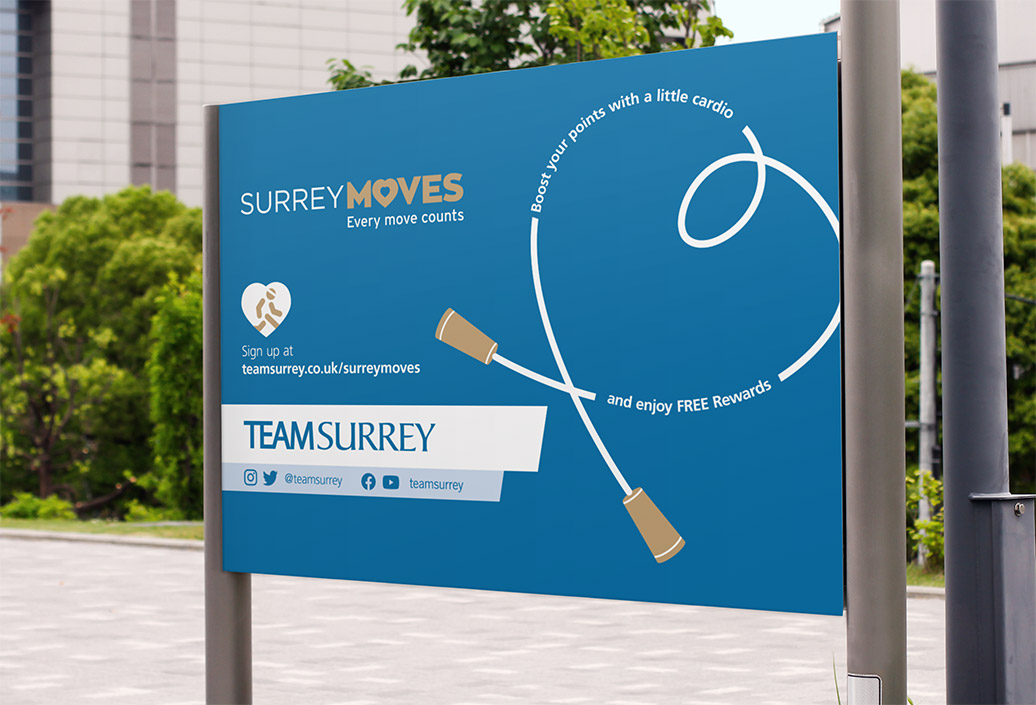 Signboard with Surrey Moves promotional message in a heart-shaped skipping rope promoting cardio activities keep active and earn free points to exchange for rewards
