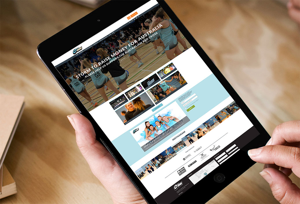 Surrey Storm landing page viewed on an iPad