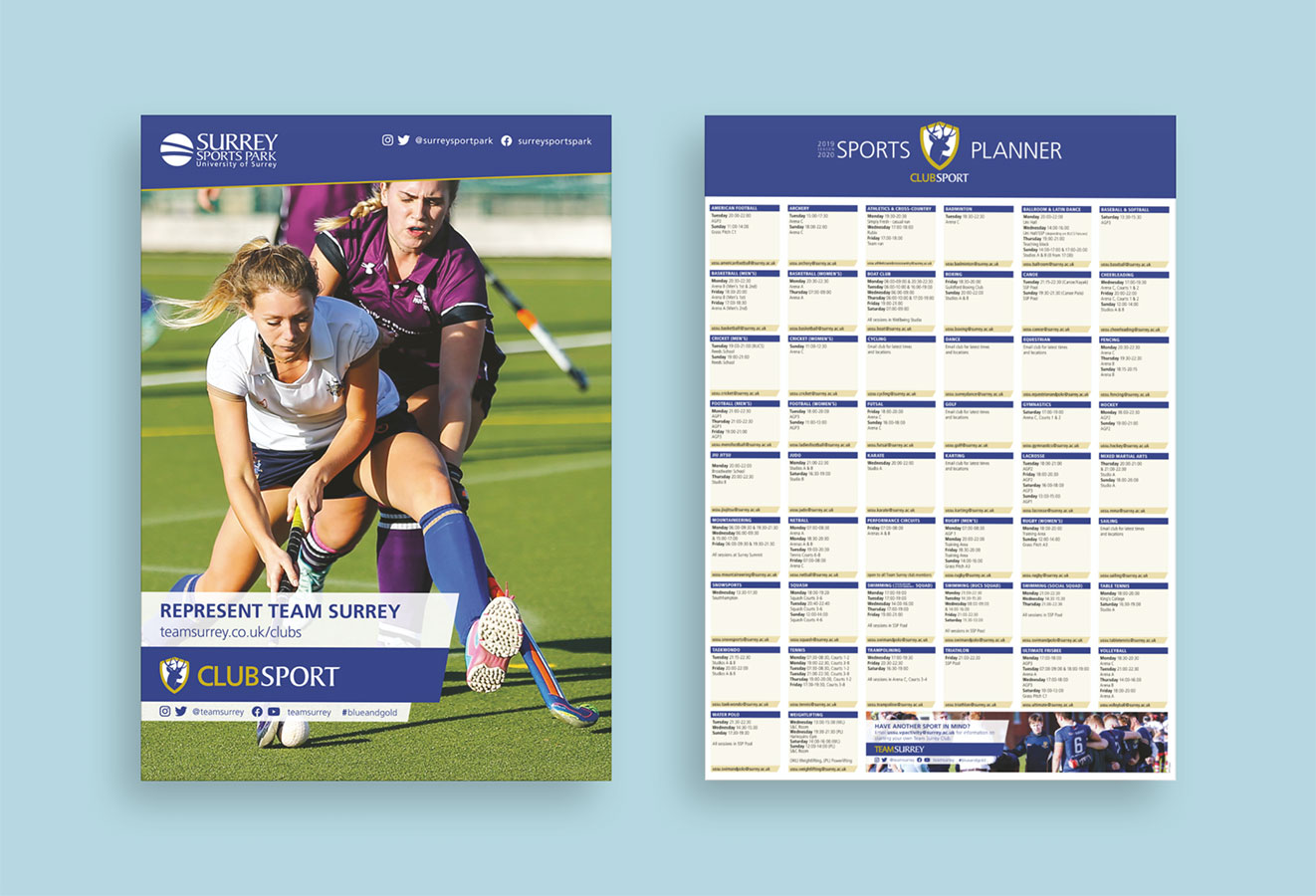 Club Sport planner front and back views