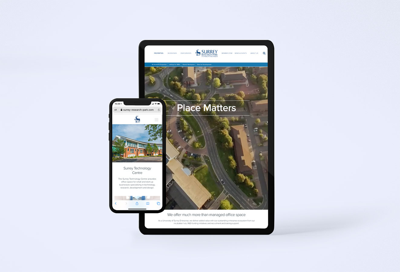 iPhone and iPad views of Surrey Research Park landing pages for the technology Centre and managed office space