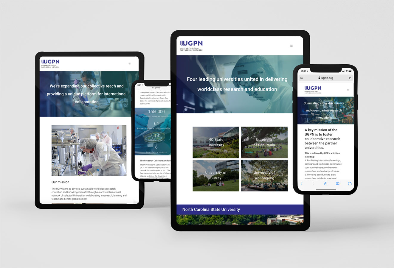 UGPN landing page views for research and university partners