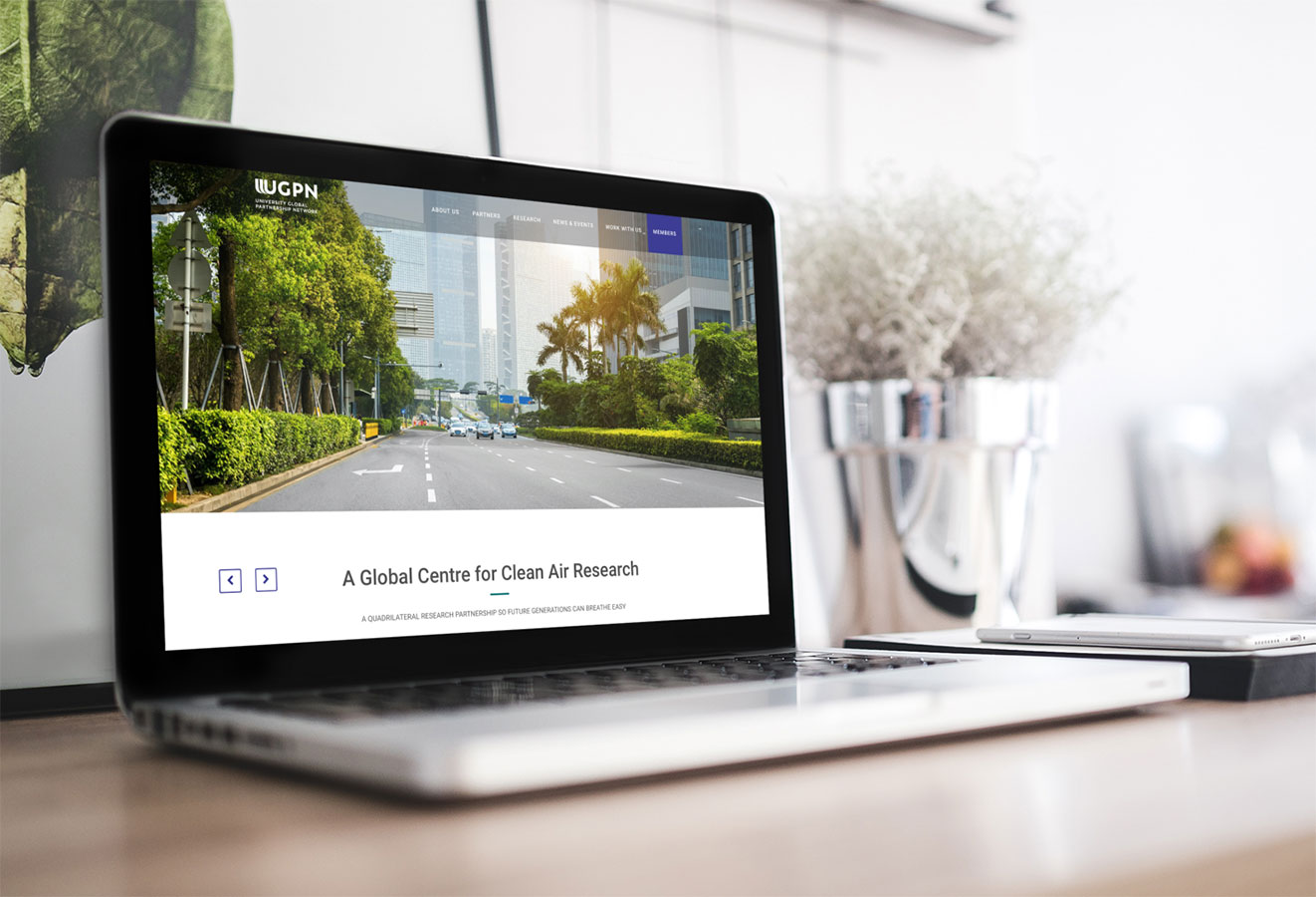 UGPN Research landing page for clean air research with view of street in China