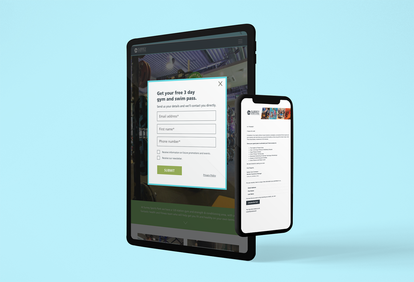 Surrey Sports Park gym pass landing page and welcome message once a user opts in