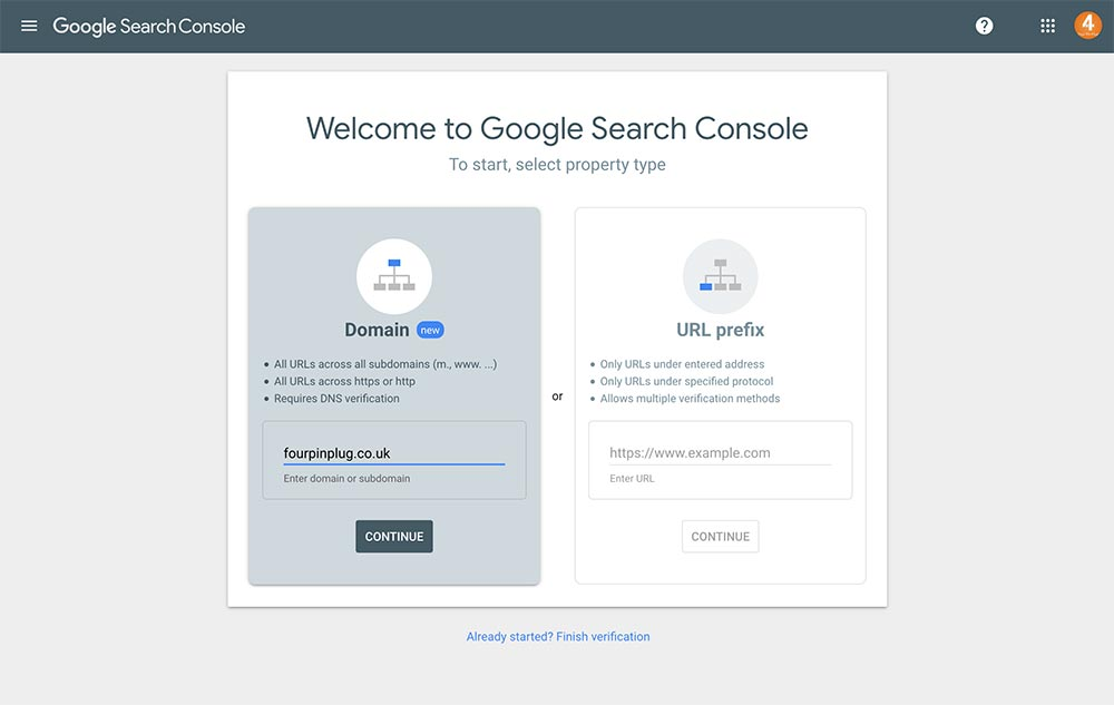 Google Search Console setup option for a website domain